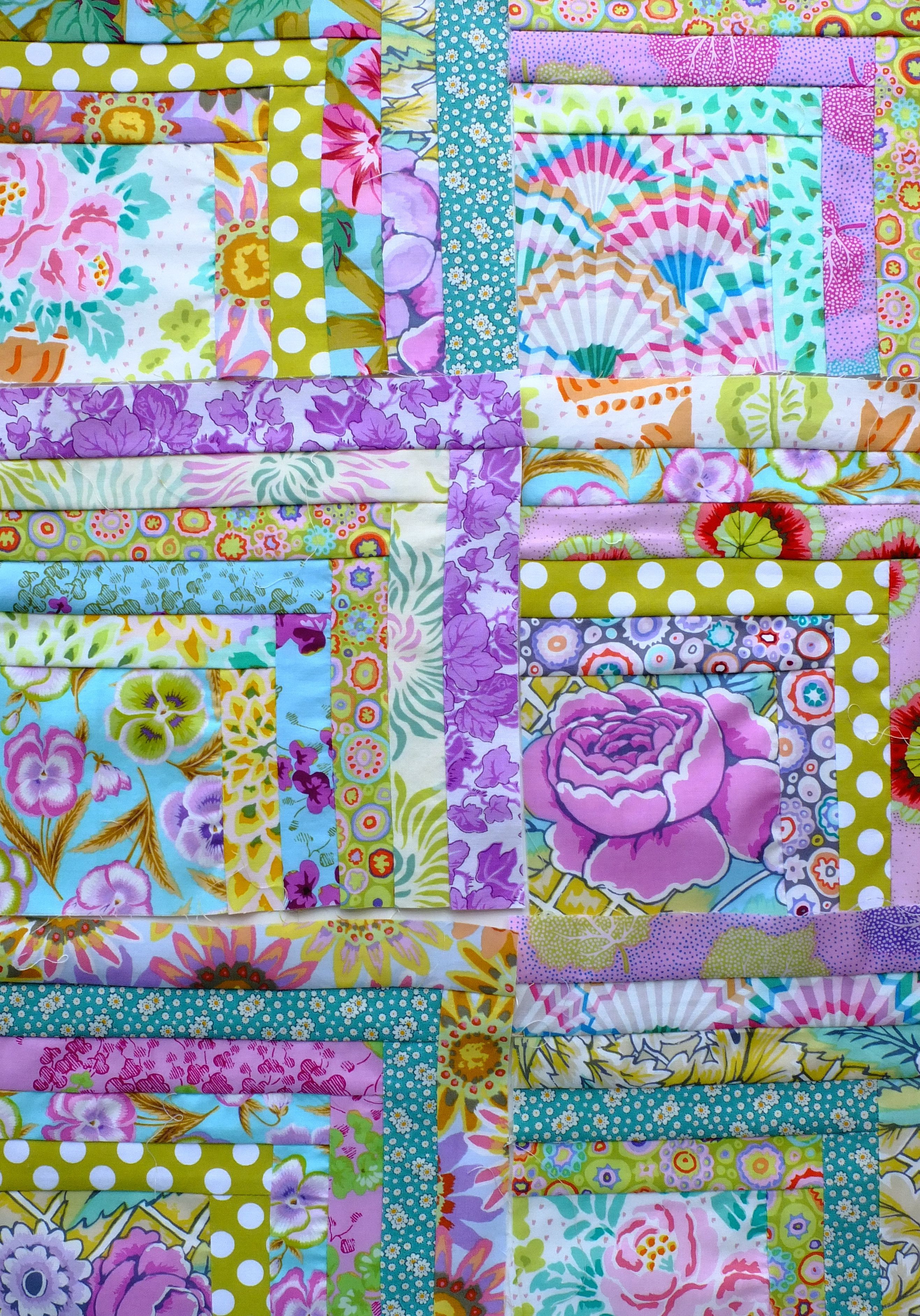 Purple Rain Half Log Cabin Quilt From The Gentle Art Of Quilt Making Jane Brocket Quilts Patchwork Quilts Flower Quilts