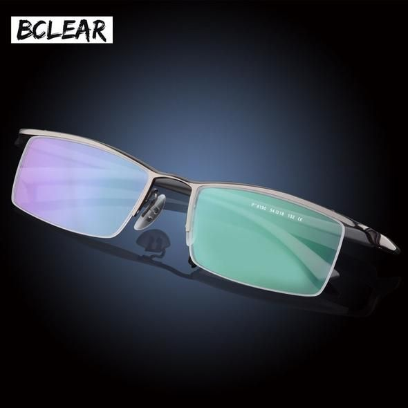 0e1f0e6563 BCLEAR Classic Brand High Quality Fashion Men Half-frame Optical Frame  Titanium Alloy Half Rim