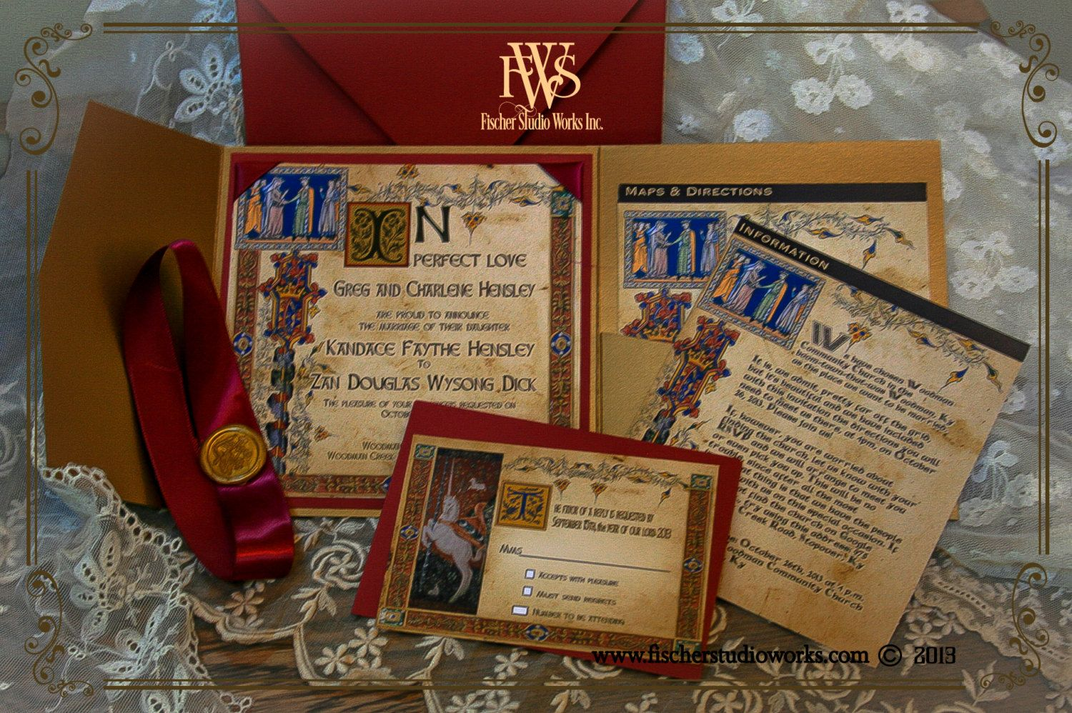 Medieval Style Illuminated Manuscript Wedding Invitation For The Lord And  Lady  All Wedding Theme Colors Available