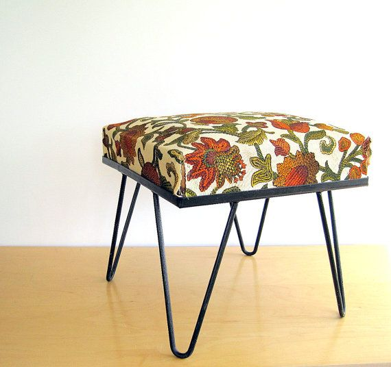 Reserved For Kelly Mid Century Hairpin Leg Stool Ottoman For The