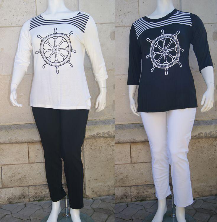en noir et blanc ou en blanc et noir le tee shirt à 19.99€ du 42/44 au 54/56 en blanc, noir ou bleu marine le pantalon à 24.99€ du 46/48 au 54/56 en blanc, noir, beige ou bleu marine
