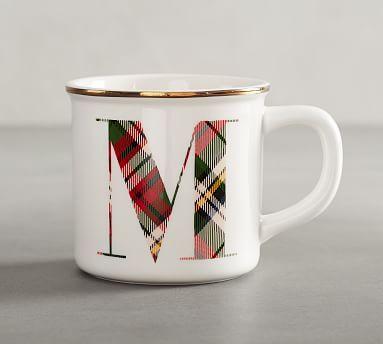 Plaid Alphabet Mug M Alphabet Mugs Mugs Pottery Barn