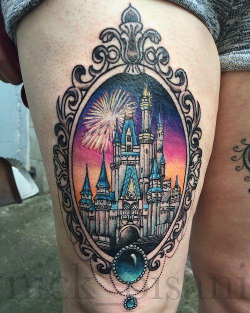 disney castle tattoo by nick pisani inkity ink pinterest tatuagens. Black Bedroom Furniture Sets. Home Design Ideas