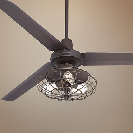 Enjoy A Powerful Refreshing Breeze With This Industrial Style Ceiling Fan Featuring Nostalgic Edison Bulbs
