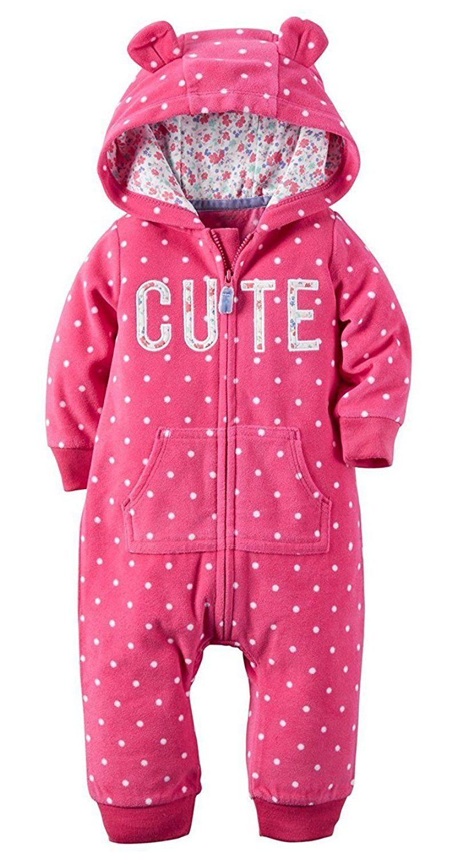 75a9481da794 Carters Baby Girls 1 Piece Fleece Hood Jumpsuit (18M