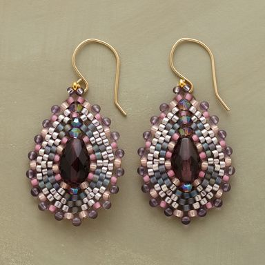 MOSAIC EARRINGS -- Like small works of art, these hand-crafted drop earrings combine amethyst, quartz and miyuki beads to dazzling effect. 18kt goldfilled wires. Handmade in USA by Miguel Ases. Exclusive. 1-3/4 dia. $148