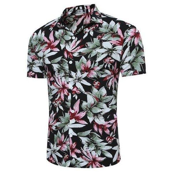 Summer Men/'s Short Sleeve Shirt Hawaiian Beach Tops Floral Printed Casual Tee