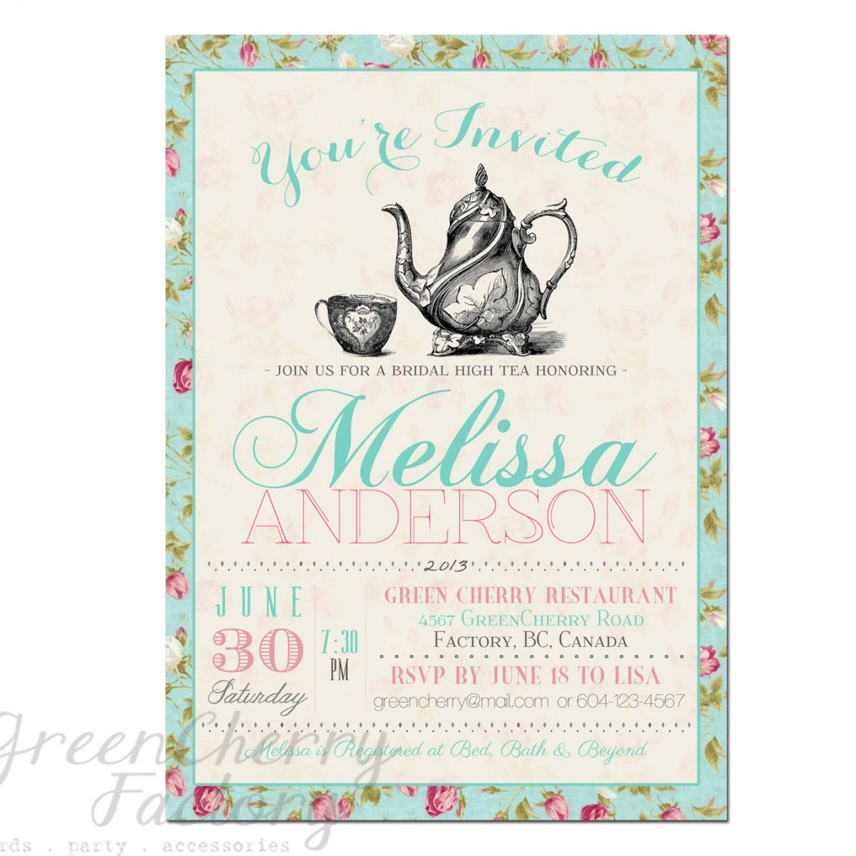 Tea Party Invitation Templates to Print | Free Printable Tea Party