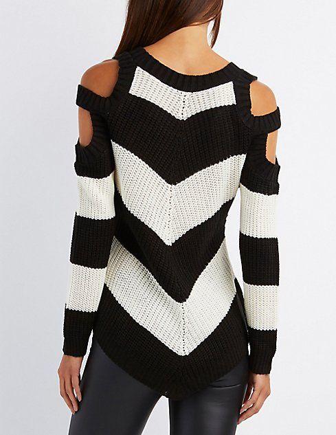 Chevron Cold Shoulder Sweater | A TEJER VERANO | Pinterest | Crochet ...