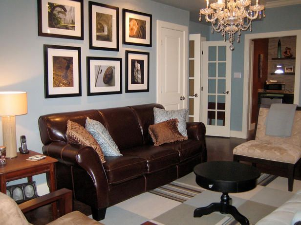 Brown Leather Light Blue Walls Dark Floors With A Rug Brown