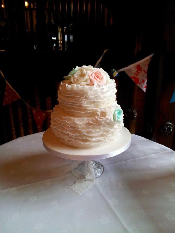 6 8 Vanilla Sponge Wedding Cake With Sugar Paste Ruffles 2 Tone Roses