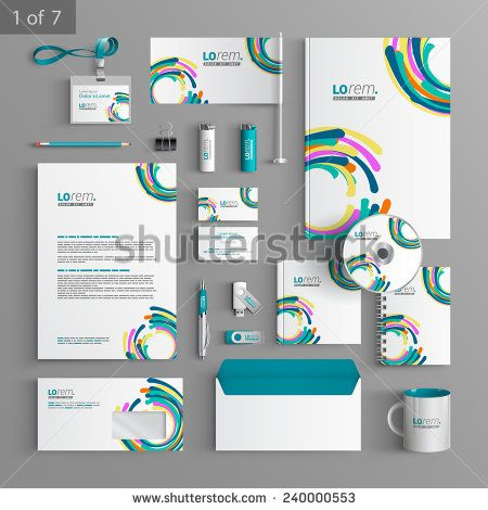 Colorful stationery template design with art round elements colorful stationery template design with art round elements documentation for business wajeb Image collections