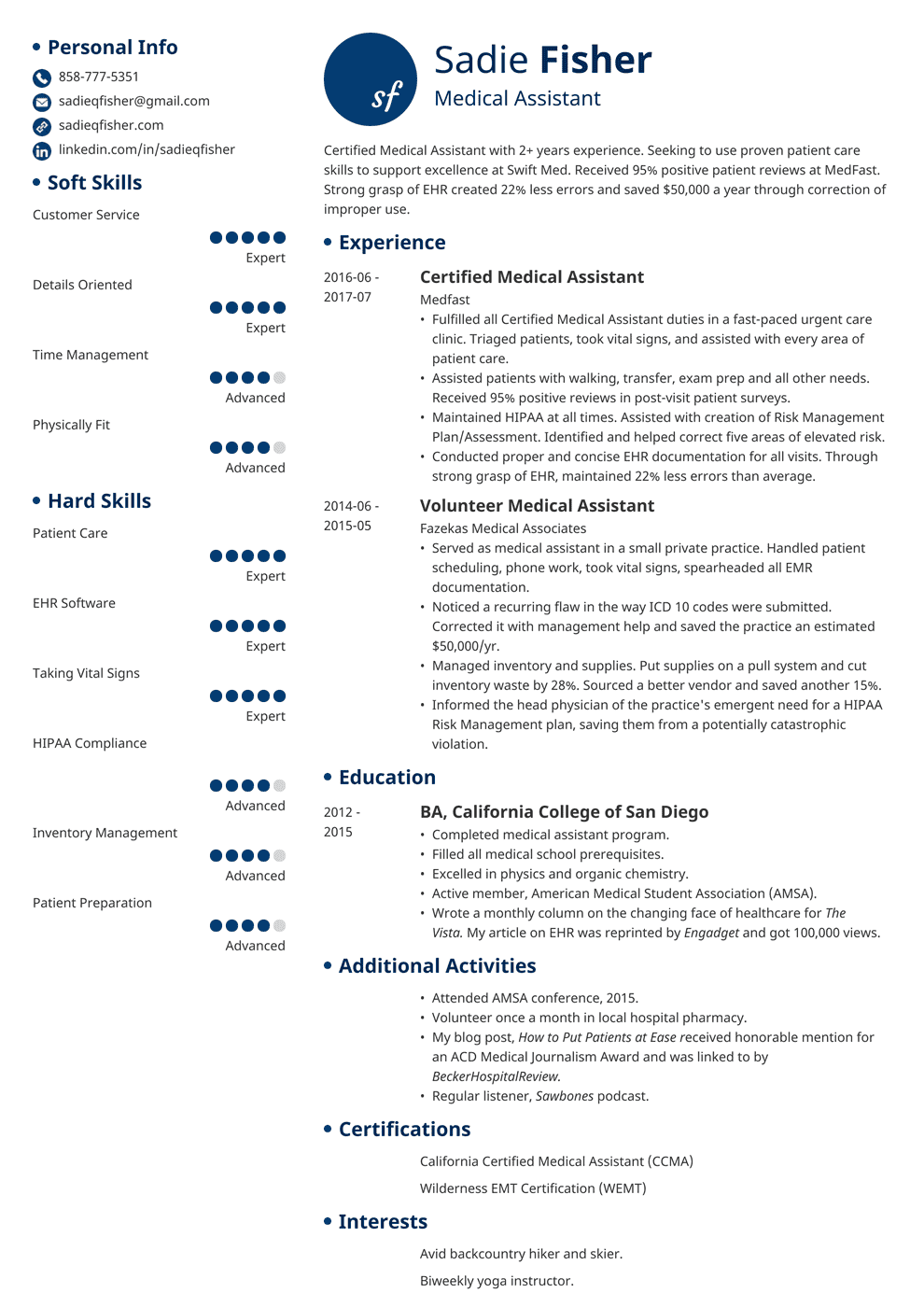 medical assistant resume template initials Resume