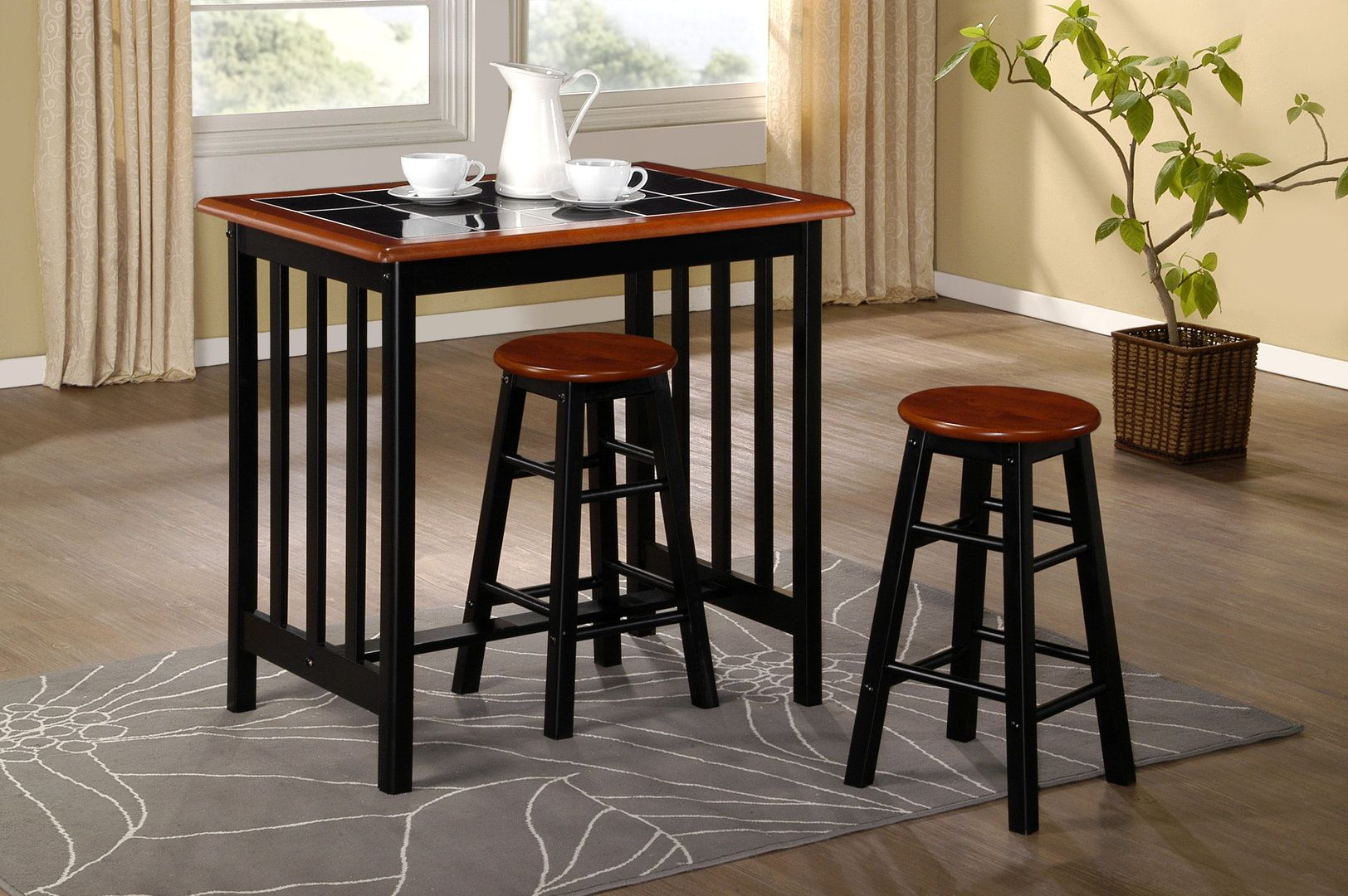 Excellent Breakfast Bar Dining Set Kitchen Table And 2 Stools Black Beutiful Home Inspiration Semekurdistantinfo