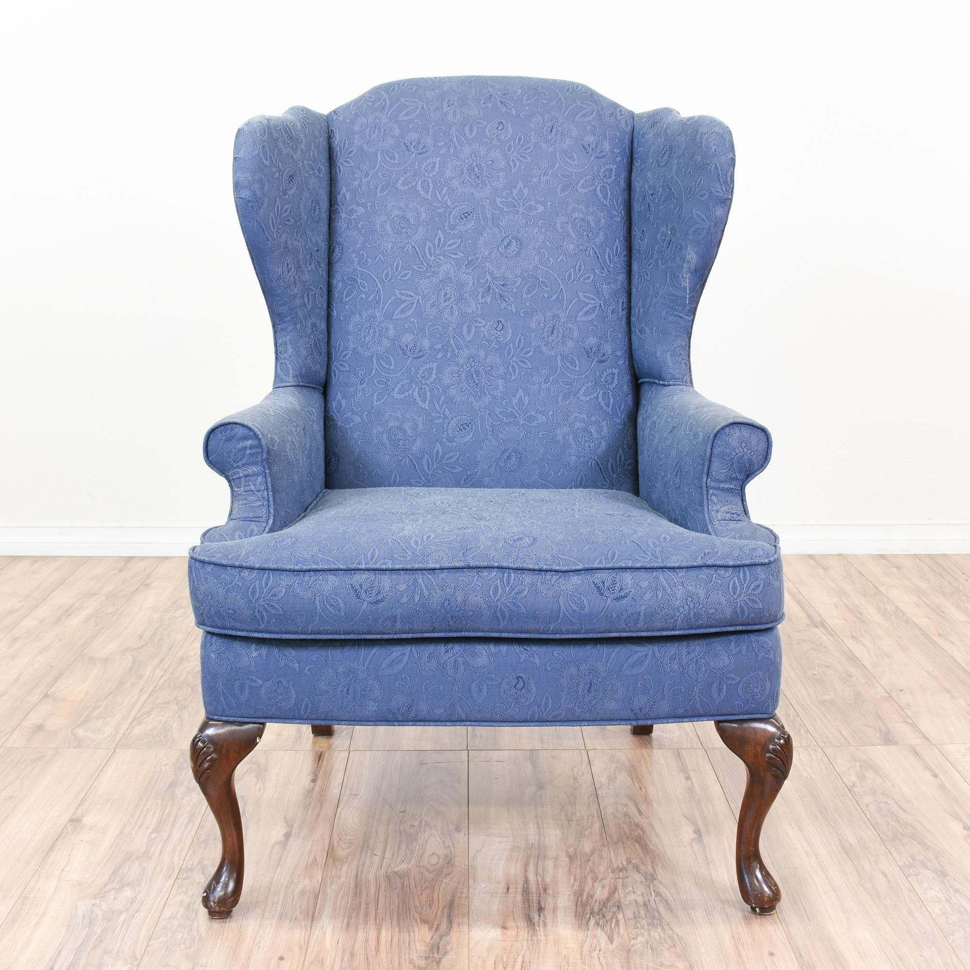 Blue floral upholstered wingback armchair wingback chair