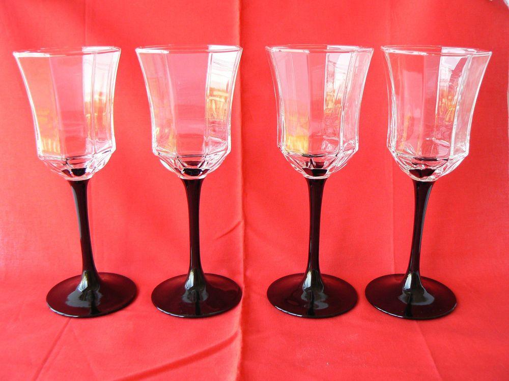 Set of 4 Vintage Arcoroc OCTIME Wine Glasses Goblets France