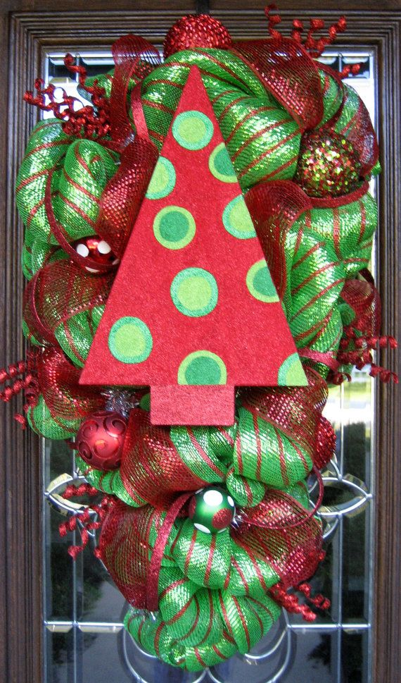 Deco Mesh CHRISTMAS TREE SWAG Wreath by decoglitz on Etsy wreaths