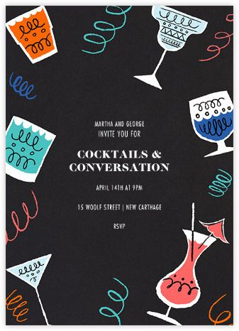 gradient stripe cocktails free cocktail party invitation.html