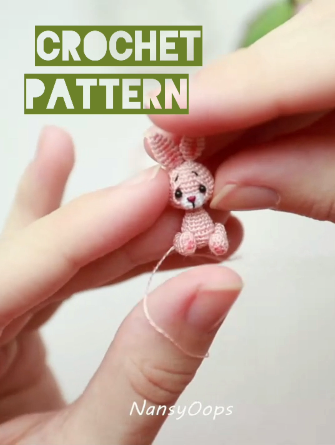 Crochet bunny pattern micro amigurumi pdf tutotial amigurumi bunny pattern by NansyOops