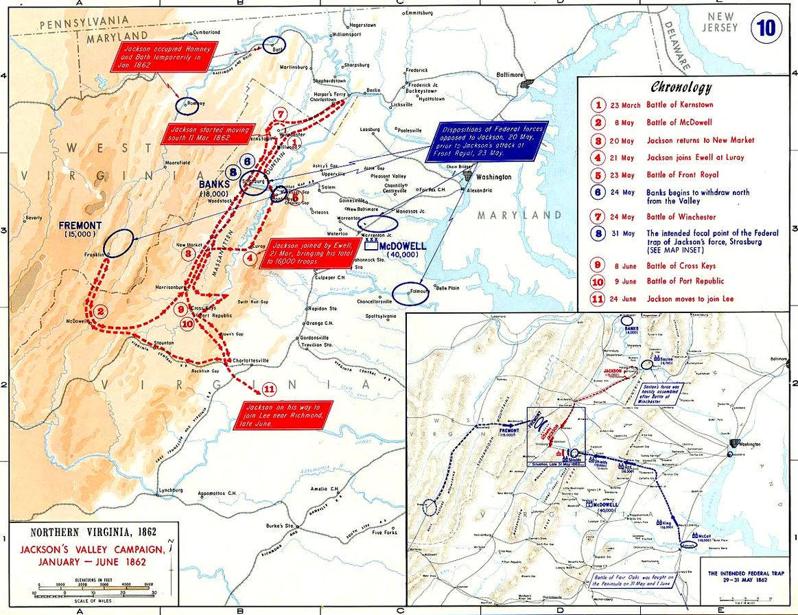 Stonewall Jackson Valley Campaign Map Civil War Jacksons Valley - Map Of Us Civil War Battles
