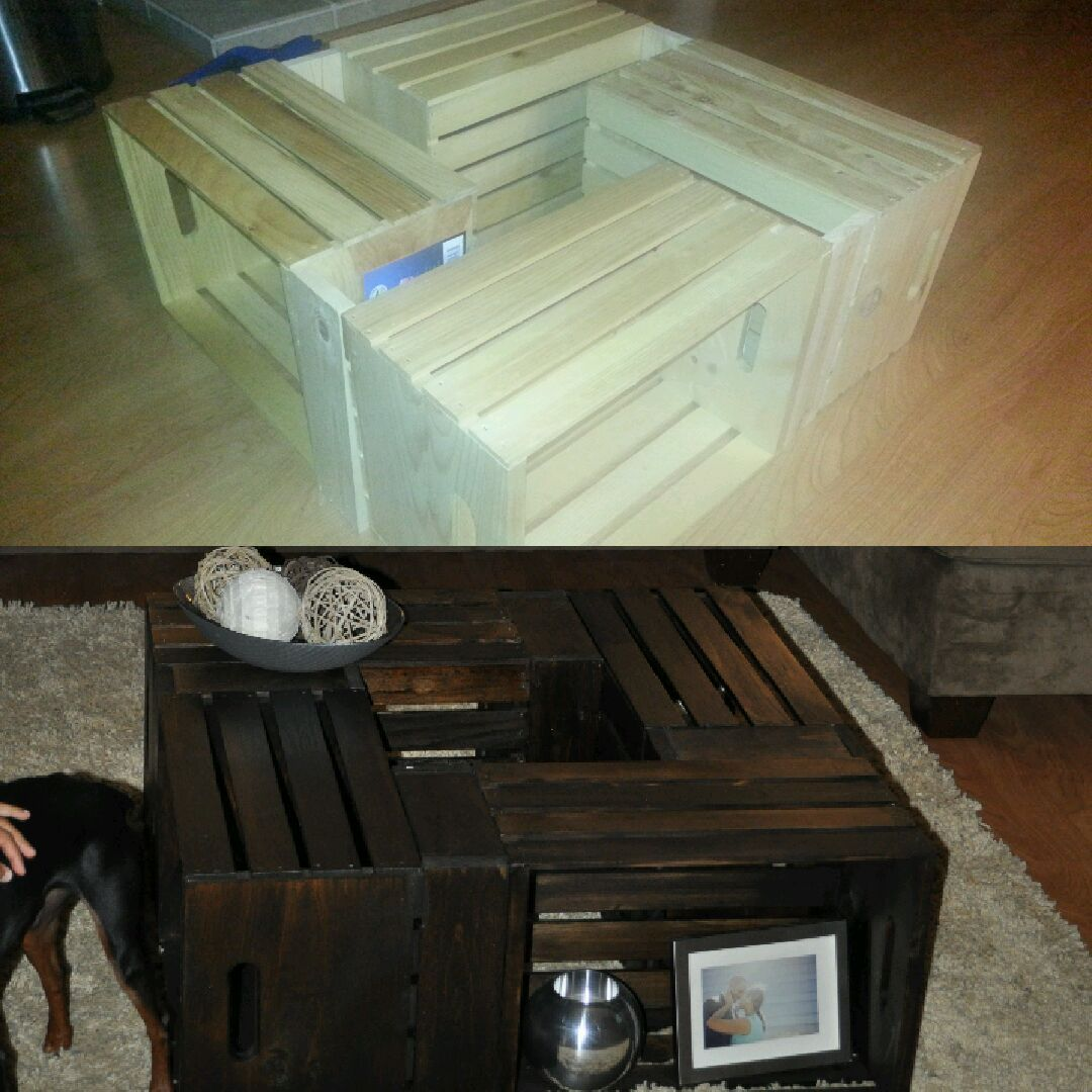 Coffee table made from wine crafts i purchased the crates for Table made from crates