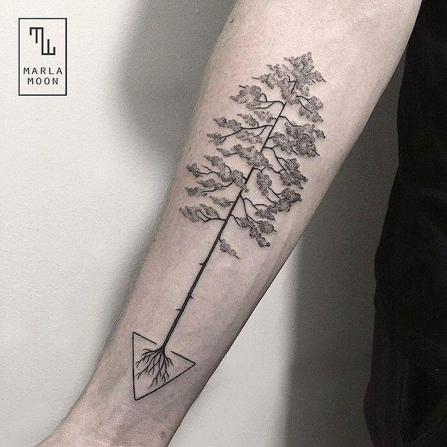 Geometric Line Drawing Tattoo : Bonsai tree marla moon geometric shapes with tattoo