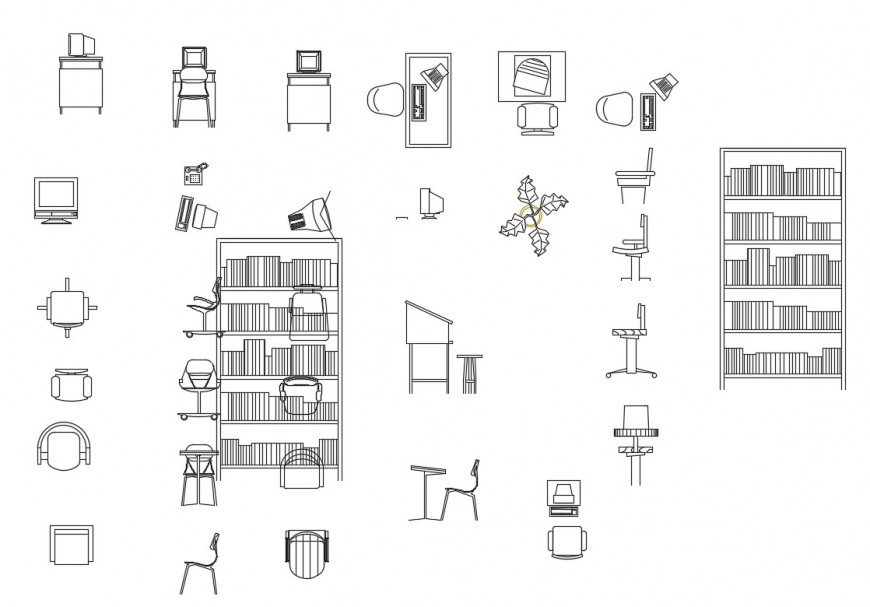 Different office furniture units detail 2d view layout ...