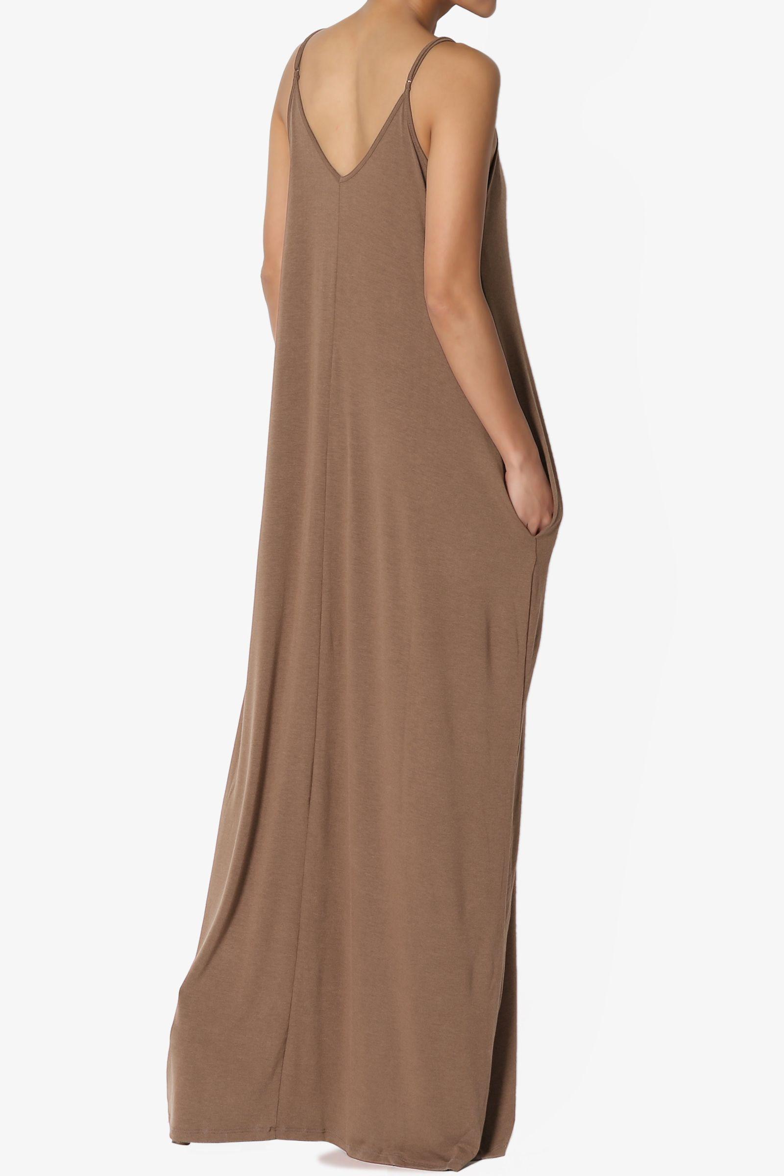 dbcf906f675 TheMogan Women s V-Neck Draped Jersey Casual Beach Cami Long Maxi Dress W  Pocket Draped
