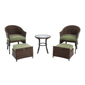 Garden Treasures Cape Verde Brown Steel Patio Conversation Set Footstools Push Under Chairs