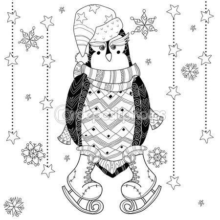 Ilustración de vector de doodle penguin de patinaje. — Vector de ...