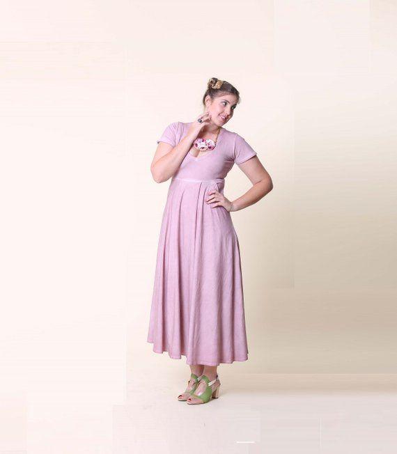 Prom dress, Pink dress for women, Acid wash dress, V neck ...