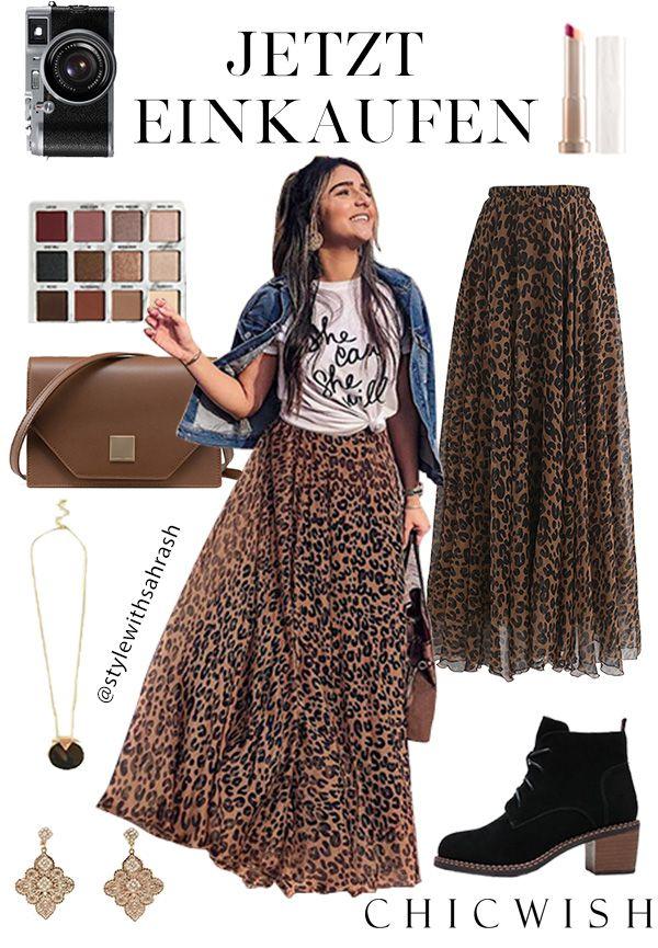 Photo of Akvarellleopard – maxi nederdel i brun