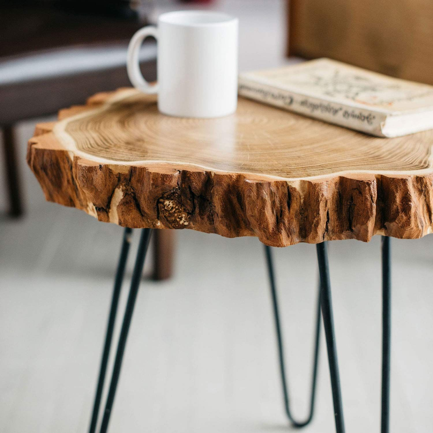Diy table with hairpin legs with images wood slice decor