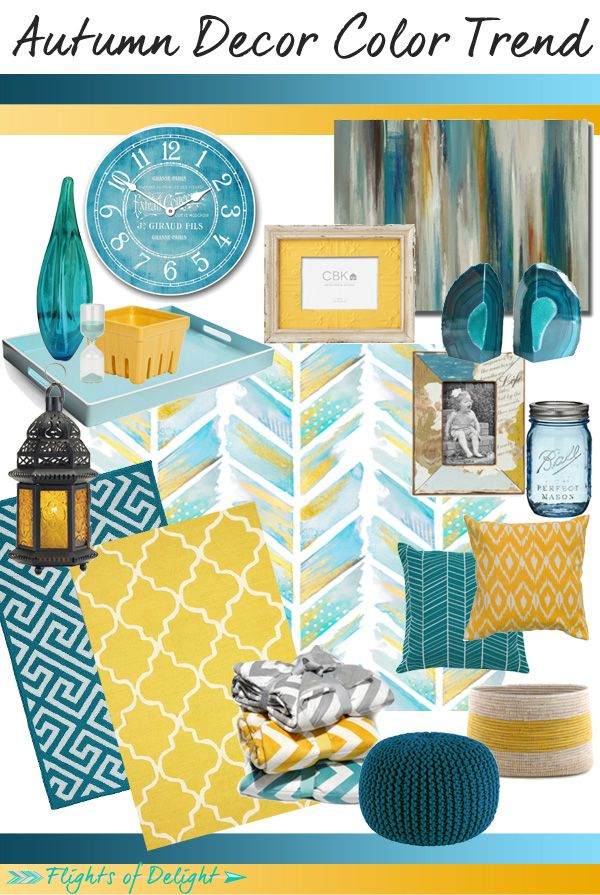 Best Autumn Decor Color Trend Mood Board Teal Mustard Via 400 x 300
