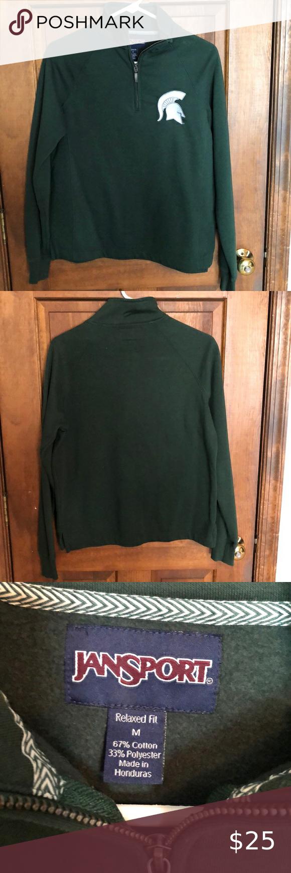 Michigan State Half Zip Half Zip Sweatshirt Half Zip Long Sleeve Tshirt Men [ 1740 x 580 Pixel ]