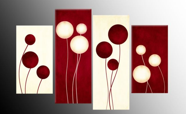 "LARGE PLUM CREAM ABSTRACT CANVAS WALL ART PICTURE SPLIT 4 PANELS 40/"" X 28/"""