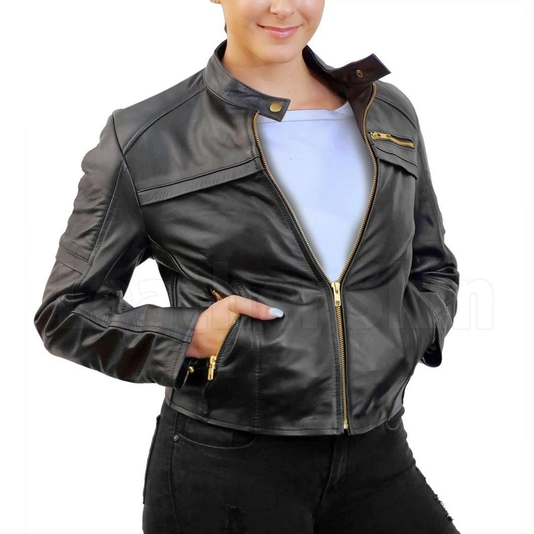 Women Black Handmade Padded Real Leather Jacket With Gold Zippers Leather Blazer Women Leather Jacket Leather Jackets Women [ 1062 x 1062 Pixel ]