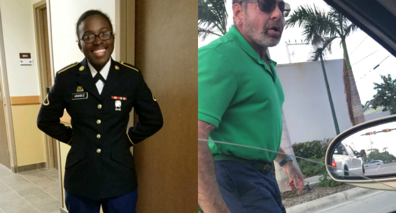 National guardswoman confronted by racial slurhurling