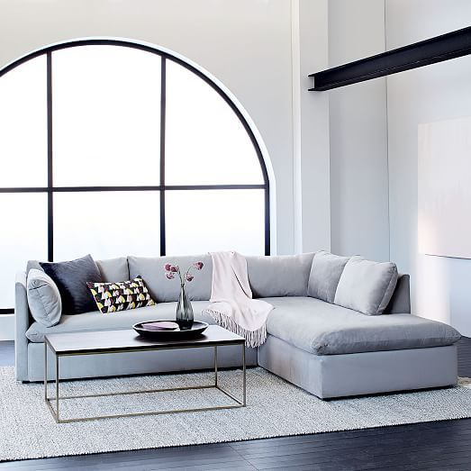 Shelter 2 Piece Terminal Chaise Sectional Living Room Decor Gray
