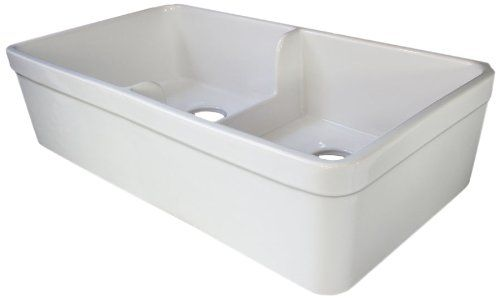 Alfi Brand Ab5123 32 Inch Short Wall Double Bowl Fireclay Farmhouse Kitchen Sink With 1 3 4 Inch Lip Whi Farmhouse Sink Kitchen Farmhouse Kitchen Kitchen Sink