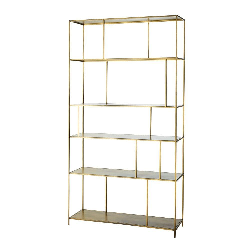 Librerie In Metallo Scaffali.Scaffale In Metallo Dorato Nel 2019 Furniture Scaffali Mobili E