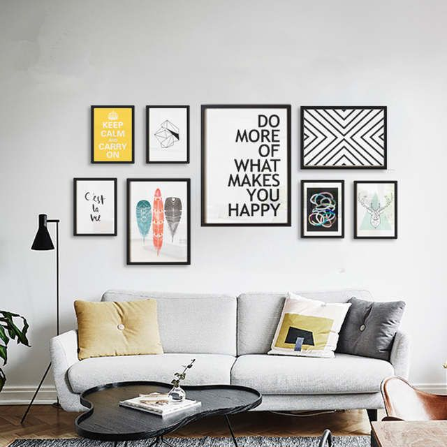 Art Picture Black And White Canvas Prints Wall Art Modern Painting Home Decorative Letters Animals Wall Art Living Room Living Room Wall Wall Decor Living Room