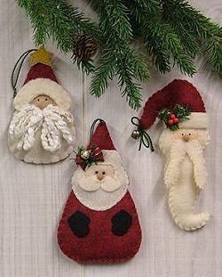 Santa Ornaments II - Wool Felt, Felt Appliqué Countryside Craft PATTERN