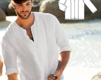 Mens White Ivory Wedding Shirts For Beach Boho Man Linen Shirt Party Special Occasion Birthday
