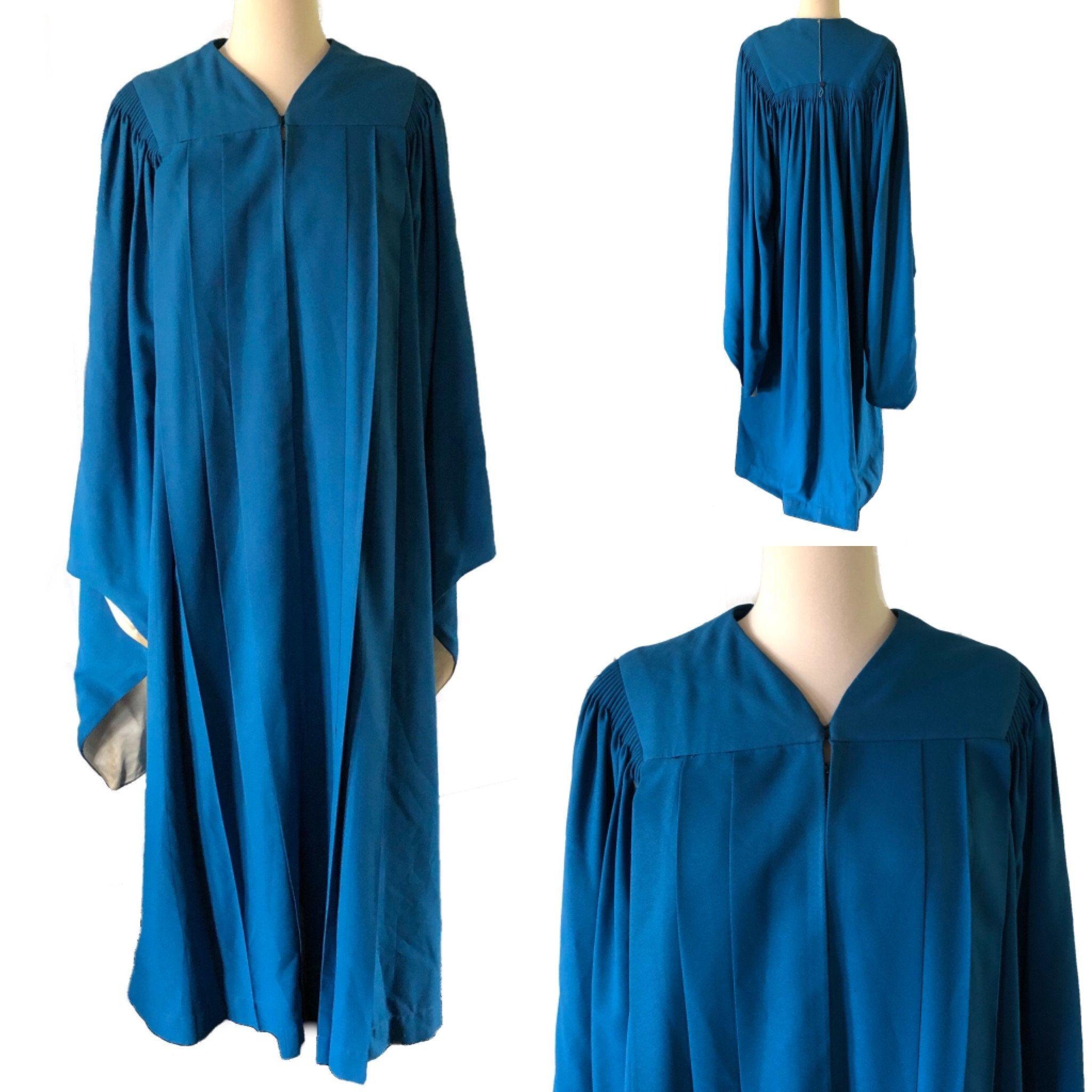 Vintage Graduation Gown Choir Robe Blue Angel Sleeves Etsy Graduation Gown Vintage Graduation Fashion