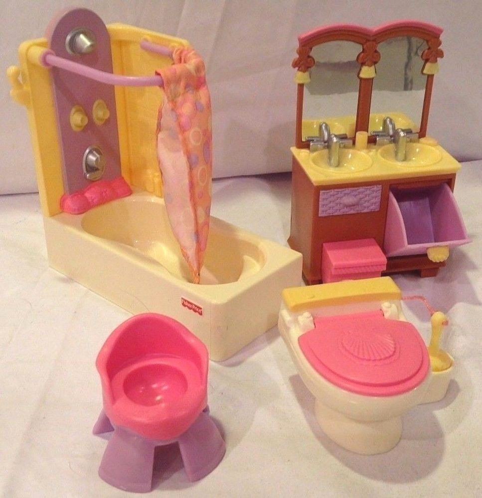 Fisher Price Loving Family Bathroom Dollhouse Furniture Complete Retired Set Fisherprice