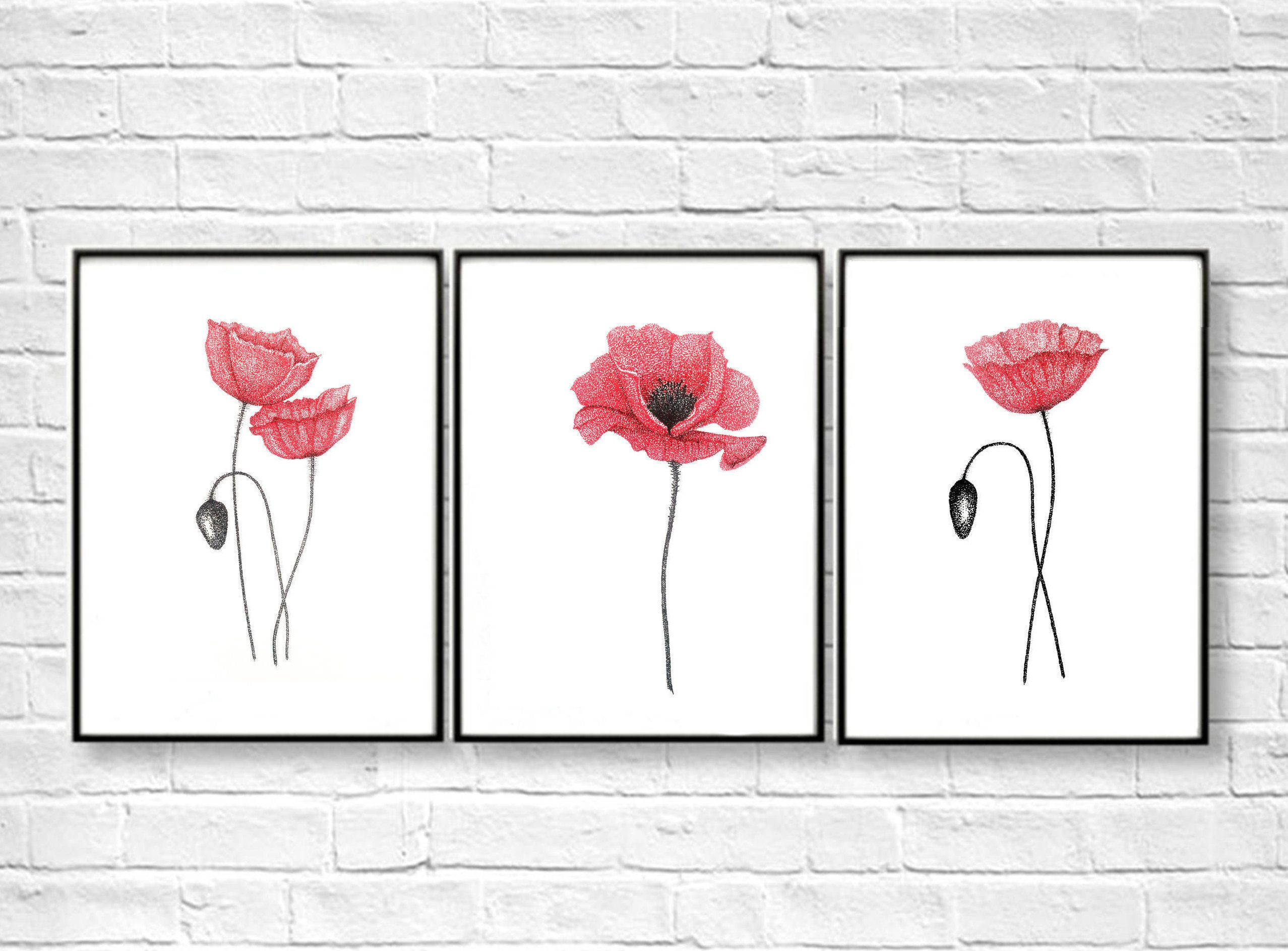 Red Poppies Set Of 3 Prints Poppy Home Decor Abstract Home Decorators Catalog Best Ideas of Home Decor and Design [homedecoratorscatalog.us]