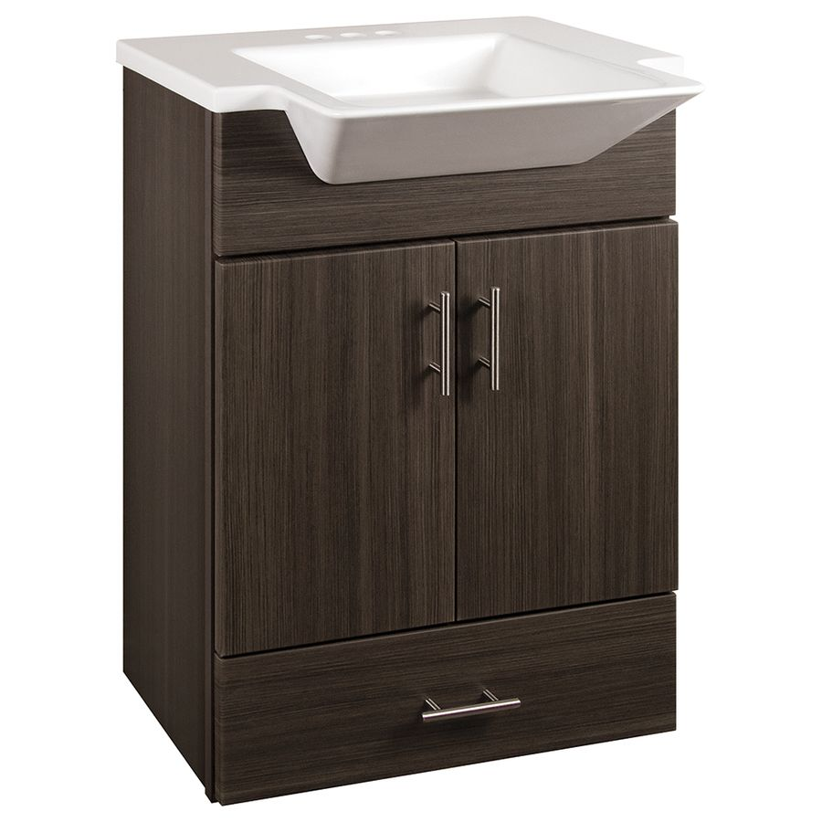 Style Selections Euro Gray 24 5 In Integral Single Sink Bathroom Vanity With Cultured Marble Top