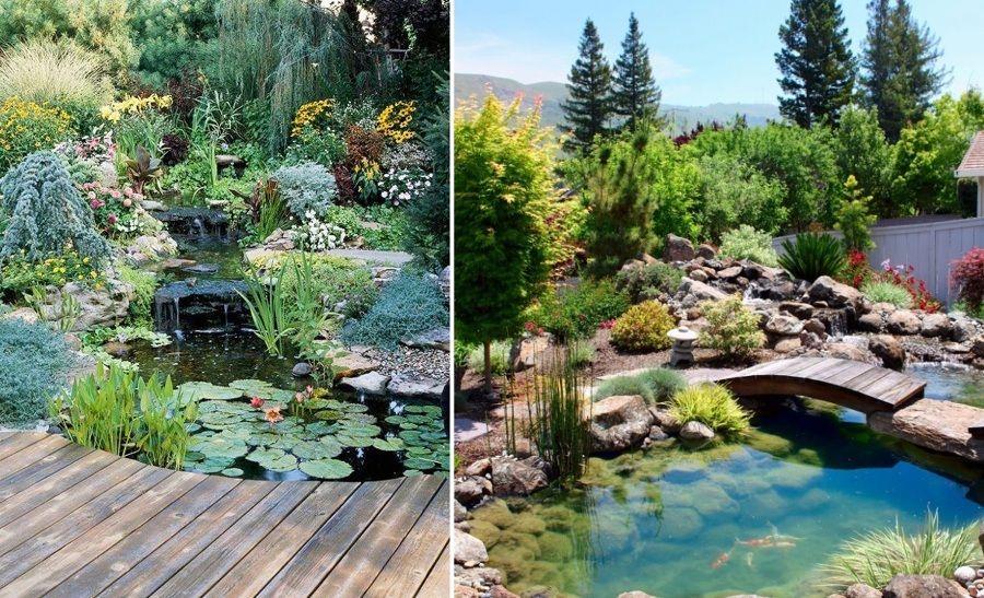 Estanques con puente jardines estanque casero for Como hacer un estanque para peces koi
