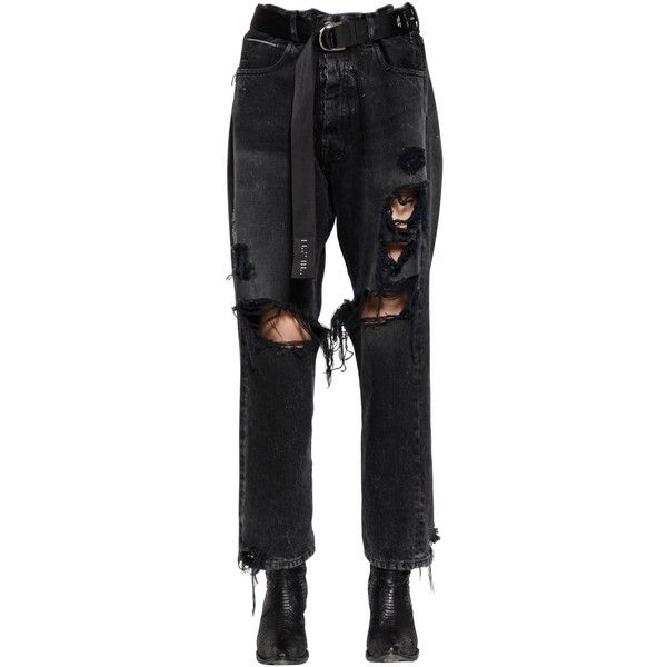 5e395b2bb21 Unravel Women Baggy Boy Destroyed Denim Jeans ($585) ❤ liked on Polyvore  featuring jeans, black, torn jeans, baggy jeans, distressed jeans, ripped  jeans ...